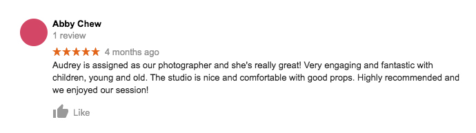 StudioPlay Google Review Abby Chew