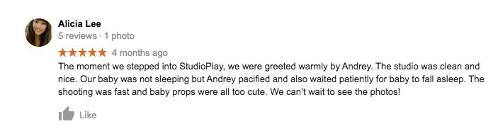 StudioPlay Google Review Alicia Lee