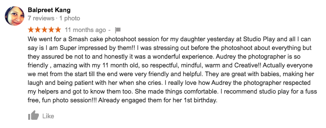 StudioPlay Google Review Balpreet Kang