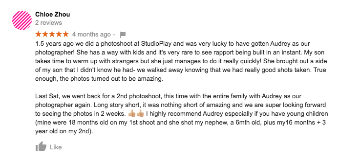 StudioPlay Google Review Chloe Zhou