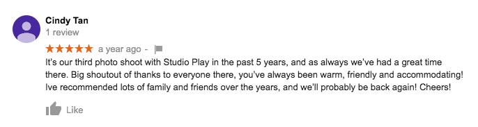 StudioPlay Google Review Cindy Tan