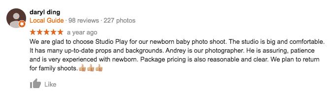 StudioPlay Google Review Daryl DIng