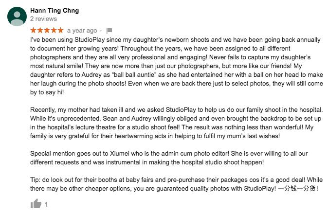 StudioPlay Google Review Hann Ting Chng