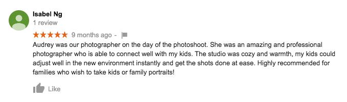 StudioPlay Google Review Isabel Ng