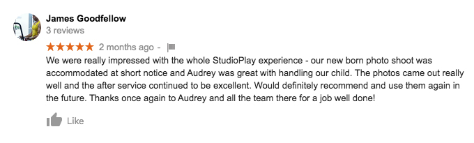 StudioPlay Google Review James Goodfellow
