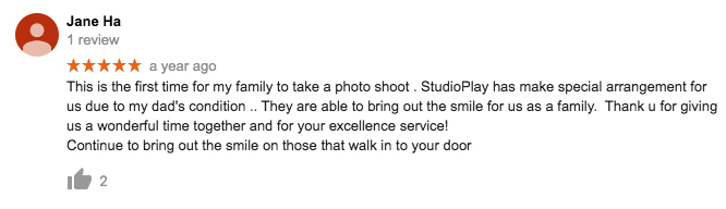 StudioPlay Google Review Jane Ha