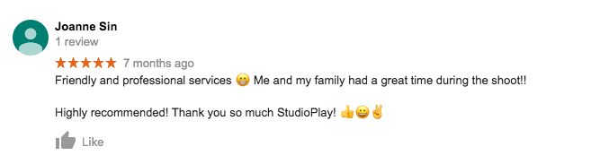 StudioPlay Google Review Joanne Sin