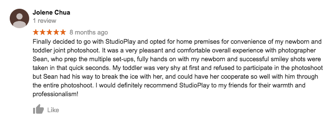 StudioPlay Google Review Jolene Chua