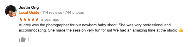 StudioPlay Google Review Justin Ong