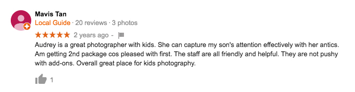 StudioPlay Google Review Mavis Tan