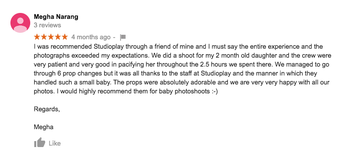 StudioPlay Google Review Megha Narang