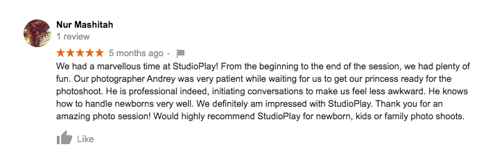 StudioPlay Google Review Nur Mashitah