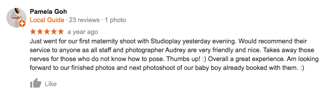 StudioPlay Google Review Pamela Goh