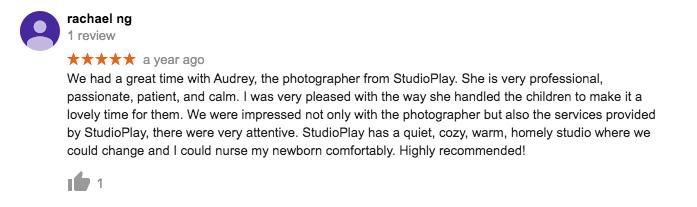 StudioPlay Google Review Rachael Ng