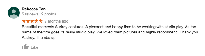 StudioPlay Google Review Rebecca Tan