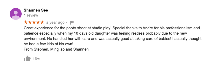 StudioPlay Google Review Shannen See