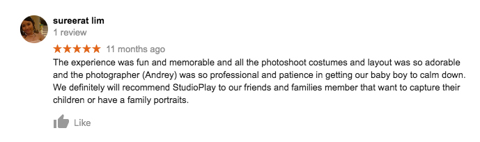 StudioPlay Google Review Sureerat Lim