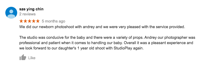 StudioPlay Google Review Sze Ying Chin