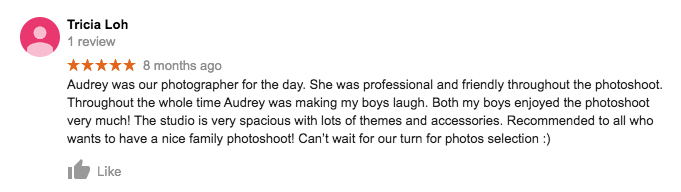 StudioPlay Google Review Tricia Loh